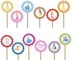 Disney Princess- Printable DIY Party Circle Cupcake Toppers by DesignDreamEtsy