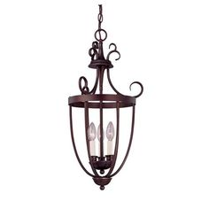 English Bronze Three-Light Foyer Lantern