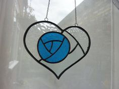 Blue rose in heart stained galss sun catcher by HiromisGlass