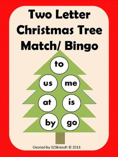 Christmas Tree Two Letter Word Match/ Bingo from 123kteach on TeachersNotebook.com -  (14 pages)  - Your students will quickly learn their two letter words as they play this fun filled two letter match game. You could also use this as a bingo game. This activity is for up to six students to play.   Happy Holidays!  If