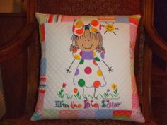 This is an adorable pillow. This design would be very cute for a little girl's quilt or wall hanging too. Everythingquilts