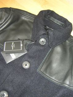 Nigel-Cabourn-Donkey-Jacket-in-Navy-Wool-Leather-Size-46-BNWT-RRP-799