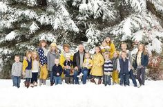 I'm not a fan of matching in family photography but there is something about gold/mustard that pops but is not overwhelming. Love this extended family shot. I'm not a fan of matching in family photography but there is something ab Winter Family Photography, Extended Family Photography, Family Photo Sessions, Family Posing, Family Portraits, Extended Family Pictures, Winter Family Photos, Large Family Photos, Family Pics