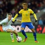 Neymar of Brazil controls the ball under pressure from Tom Cleverley of England during the international friendly match between England and Brazil at Wembley Stadium on February 2013 in London, England Wallpaper Gallery, Hd Wallpaper, Man Utd Fc, Wembley Stadium, Sports Activities, Under Pressure, Hd Desktop, My Guy, World Cup