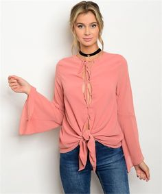 Bell sleeves chiffon knot blouse