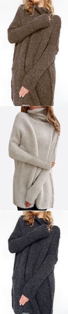 High Neck Pullover Loose Jumpers