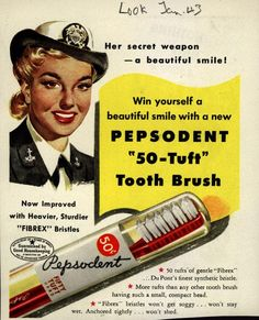 WWII Pepsodent toothbrush ad. Visual reference for the Duster graphic novel. http://Duster.me