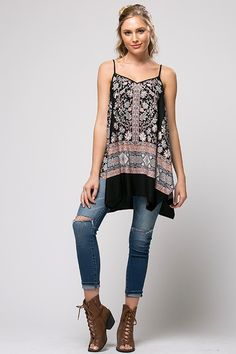 Floral Print Loose Fit Tunic