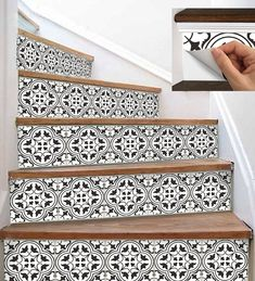 Stair Riser Vinyl Strips Removable Sticker Peel & Stick : for stairs to master. reconfigure stairway so that door is at top Tile Stairs, Basement Stairs, Painted Staircases, Painted Stair Risers, Staircase Makeover, Tile Decals, Staircase Design, Staircase Ideas, Stairways