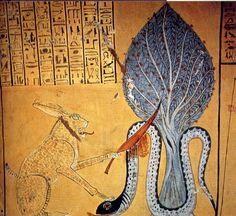 El gran gato de Ra mata a la serpiente Apep
