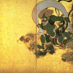 Fujin Raijin-zu (Picture of Wind and Thunder Gods), early Edo period, two…