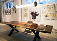 No ordinary wooden boards as a table top, but a part of the trunk with the bark … – Wohnideen – Epoxy Lounge Furniture, New Furniture, Furniture Design, Furniture Ideas, Epoxy Wood Table, A Table, Dining Table, Wood Table Design, Walnut Wood