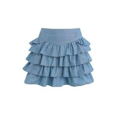 Light blue chambray tiered skirt ($9.84) ❤ liked on Polyvore featuring skirts, mini skirts, saias, bottoms, faldas, women, women's dresses & skirts, short ruffle skirt, short skirts and red herring