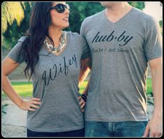 Great gift for the newly engaged couple, Or a wedding present to wear on the honeymoon!!! The hubby and wifey shirt together is a statement piece!