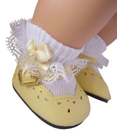 """IVORY Scalloped Heart-Cut Mary Jane DOLL SHOES fits 18"""" AMERICAN GIRL DOLL"""