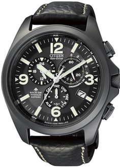 Titanium Citizen radio controlled men's watch with black dial and multifunction. From €650 for €489. See more at - www.megawatchoutlet.com