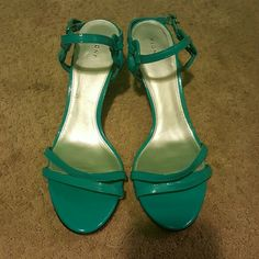 Heels Turquoise 2 inch  heels with an ankle strap. Good condtion. Such a cute color! FIONI Clothing Shoes Heels