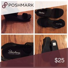 """Super comfy wedge sandals NWOT. Memory foam makes these incredibly comfortable. 2.5"""" heel height. Never worn. Skechers Shoes Wedges"""