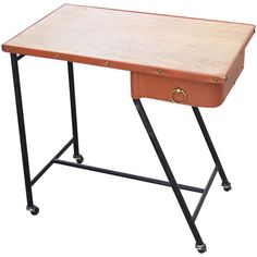 1stdibs.com   Jacques Quinet Leather, Oak and Steel Table