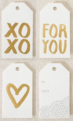 gold foil stamped gift tags