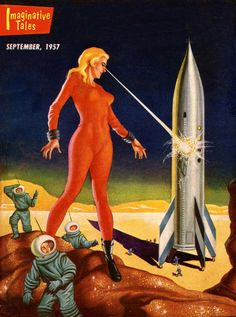 Sci-Fi .Giant lady with laser beam eyes