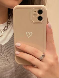 Cool Simple Beige Heart Design Phone Cover for iPhone