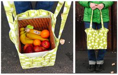 boxed produce bag tutorial, practical and super cute! Perfect for the farmer's market.