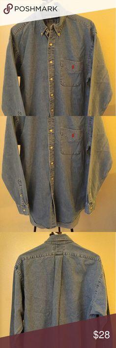 Vintage Ralph Lauren Denim Button Front LS Shirt In good Pre-owned condition men vintage Ralph Lauren denim shirt Ralph Lauren Shirts Casual Button Down Shirts
