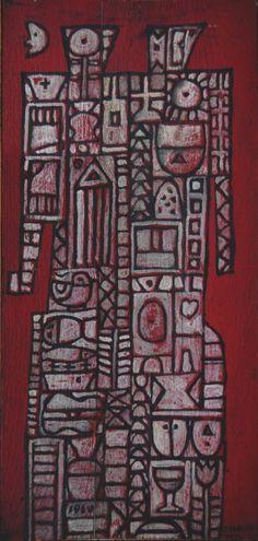 José Gurvich - Pareja, 1960. Óleo sobre tabla, 415 x 183 cm.