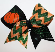 Beautiful Fall Halloween Pumpkin Cheer Bow Lots of GLITZ ! By Funbows