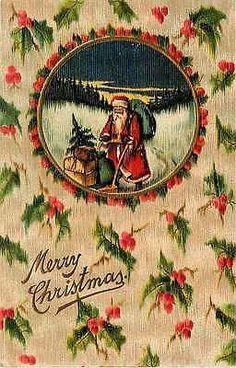 Christmas Santa Claus 1909 Santa Pushing Sled Toys Vintage Embossed Postcard