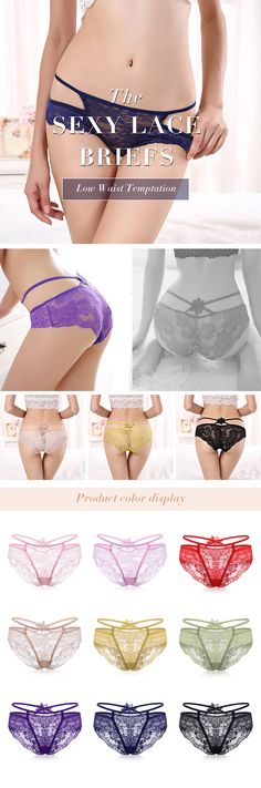 Women Sexy Lace Floral Hollow Out Low Waist Temptation Panties #fashion #style #art