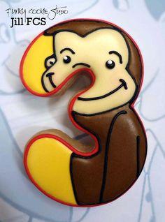 images in number cookies Galletas Cookies, Iced Cookies, Royal Icing Cookies, Sugar Cookies, Monkey Cookies, Cute Cookies, Cupcake Cookies, Curious George Party, Curious George Birthday