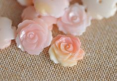 10pcs Pink Queen Conch Shell Rose Flower Cabochon 15mm by Nbeads