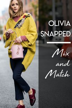 For a fun, bright winter look, Olivia mixes and matches colors and textures.