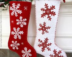 SNOWFLAKE CHRISTMAS STOCKING | Set of Felt Snowflakes Christmas Stockings