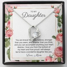 To My Daughter, You Are Braver Than You Believe, Stronger Than You Seem, And Smarter Than You Think, And You Can Accomplish Anything Your Heart Desires. I Love You From The Bottom Of My Heart And How Proud I Will Always Be To Have A Wonderful Daughter Like You. Love, Mom #quote #quotes #happybirthday #daughtergifts #daughtergift #giftfordaughter #giftsfordaughter #giftdaughter #tomydaughter #birthdaygift #birthdaygifts #graduationgift #graduationgifts #christmasgift #christmasgifts Mother Of The Groom Jewelry, Mother Of The Groom Gifts, Mother In Law Gifts, Daughter In Law Gifts, Sister Gifts, Nanny Gifts, Future Daughter, Happy Birthday Daughter, Birthday Gifts For Sister