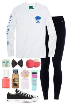 """""""casual⚜"""" by izzyforet ❤ liked on Polyvore featuring NIKE, Converse, Full Tilt, Eos, Maybelline, Essie and Marc Jacobs"""