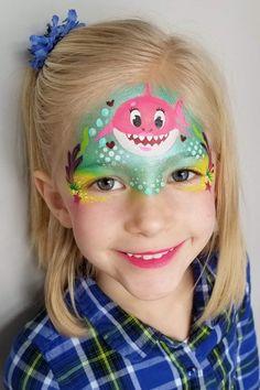 Shark Face Painting, Girl Face Painting, Face Painting Tips, Face Paintings, Animal Paintings, Easy Face Painting Designs, Mermaid Face Paint, Cheek Art, Halloween Makeup Looks