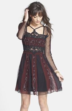 Free People 'Tough Love' Embroidered Mesh Fit & Flare Dress available at #Nordstrom
