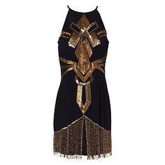 prom dress 1920s   ... 1920s Deco Sequin Halter Flapper Evening Party Prom Dress   eBay
