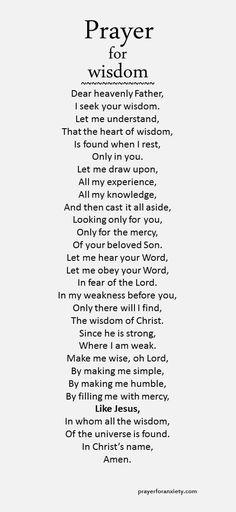 Prayer for wisdom