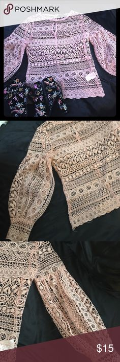 Dusty pink lantern sleeves crochet top A cute crochet too with lantern sleeves. Worn once. Fits a small.  Bust-33 in, waist is 32-however runs still tight. Fits best a size 2 Tops Blouses