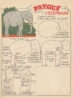 how to draw an elephant, vintage : flickr, click the ••• to get to the higher resolution image for printing Drawing Lessons, Drawing Techniques, Art Lessons, Animal Drawings, Art Drawings, Doodle Characters, Elephant Illustration, Directed Drawing, Elephant Art