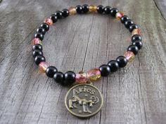 20% OFF SATURDAY SALE Use code SATURDAY20 Bronze Aries Jewelry Charm Bracelet Zodiac Beaded Stretch Bracelet Beadwork Astrology Star Sign Aries Ram Black Red Yellow Glass Beads