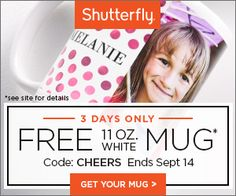 Shutterfly is offering a free 11 oz. White Ceramic Mug—a $14.99 value—for free for a limited time. All you'll pay is about $7 for shipping! Click through for the code...