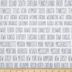 Heritage State Line White from @fabricdotcom  Designed by Stephanie Marrott for Wilmington, this cotton print fabric spells out the fifty states of the United States. Perfect for quilting, apparel and home decor accents. Colors include cream and blue.