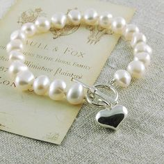 Sophie Pearl Bracelet by Highland Angel, the perfect gift for Explore more unique gifts in our curated marketplace. Baby Bracelet, Heart Bracelet, Making Ideas, Handcrafted Jewelry, Jewelry Crafts, Wedding Jewelry, Personalized Gifts, Women Accessories, Unique Gifts