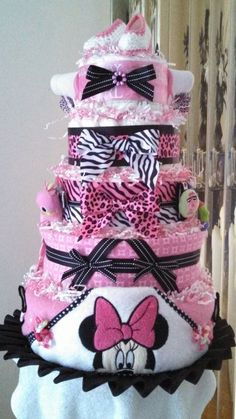 #Minnie Mouse Baby Shower Washcloth #Cake