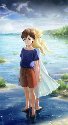 Anime picture with omoide no marnie studio ghibli anna (omoide no marnie) marine nababa long hair tall image short hair blue eyes blonde hair brown hair smile multiple girls fringe sky looking away standing barefoot holding lips Anime Gifs, Sad Anime, Manga Anime, Anime Art, Studio Ghibli Art, Studio Ghibli Movies, Erinnerungen An Marnie, Personajes Studio Ghibli, When Marnie Was There